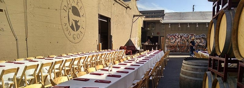 Tables set for wedding at Donkey and Goat!
